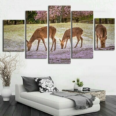 Deer Picture Print Painting - 5 Panel Canvas Print Wall Art Set