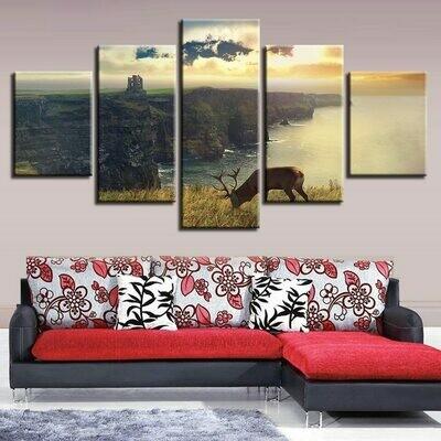 Deer Wall Art Modular - 5 Panel Canvas Print Wall Art Set