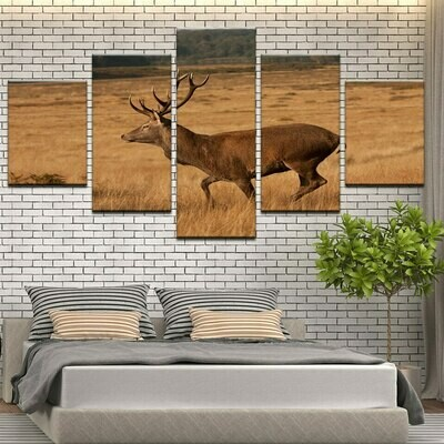 Deers Poster - 5 Panel Canvas Print Wall Art Set