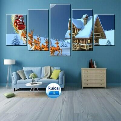Santa Claus Deer Gifts - 5 Panel Canvas Print Wall Art Set