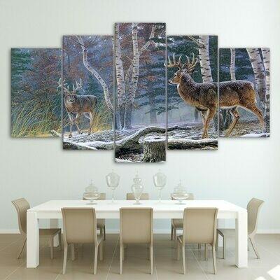 Deer Sonw Landscape - 5 Panel Canvas Print Wall Art Set