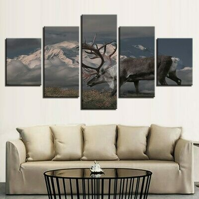 Animal Deer Modular - 5 Panel Canvas Print Wall Art Set