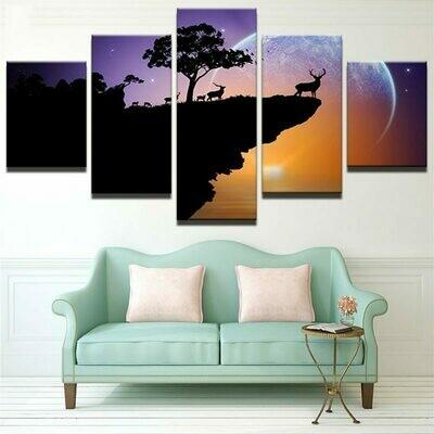 Deer Abstract- 5 Panel Canvas Print Wall Art Set