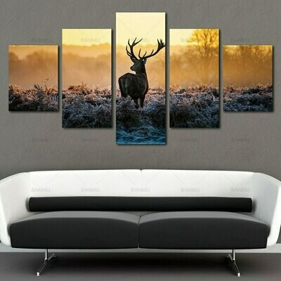 Deer Animal Africa - 5 Panel Canvas Print Wall Art Set