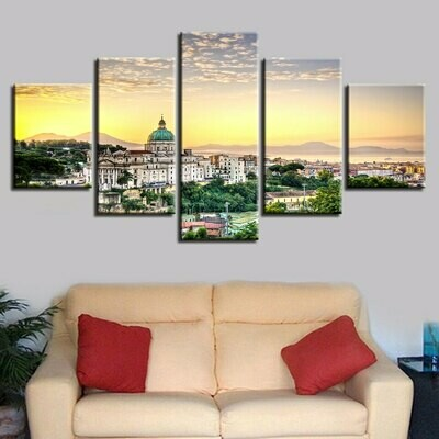 Christian Church Building Natural - 5 Panel Canvas Print Wall Art Set
