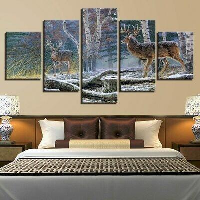 Deer Art Modular - 5 Panel Canvas Print Wall Art Set