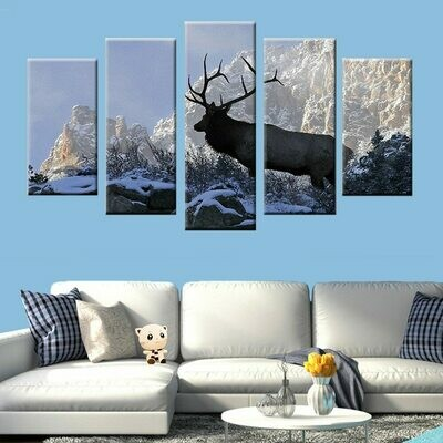 Deer Elk in Snow - 5 Panel Canvas Print Wall Art Set