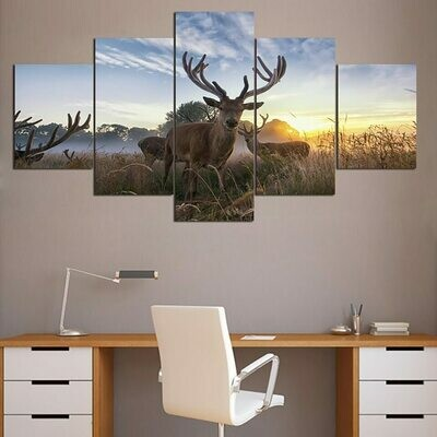 Animal Deer Framework - 5 Panel Canvas Print Wall Art Set