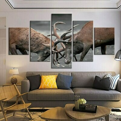 Canvas Art Animals Poster - 5 Panel Canvas Print Wall Art Set