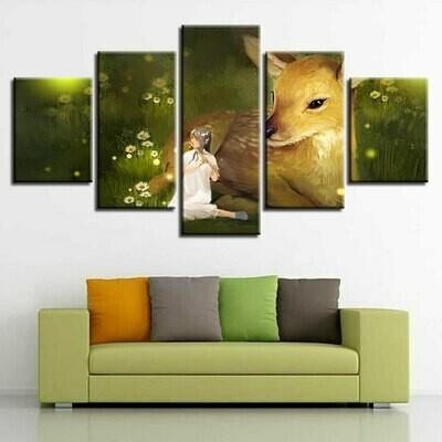 Deer And Girl - 5 Panel Canvas Print Wall Art Set