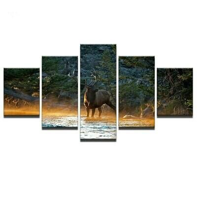 Deer Canvas Wall - 5 Panel Canvas Print Wall Art Set