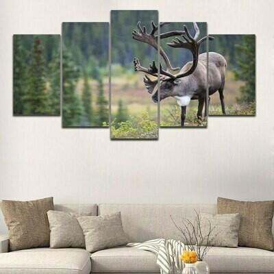 Deer Landscape Pictures - 5 Panel Canvas Print Wall Art Set