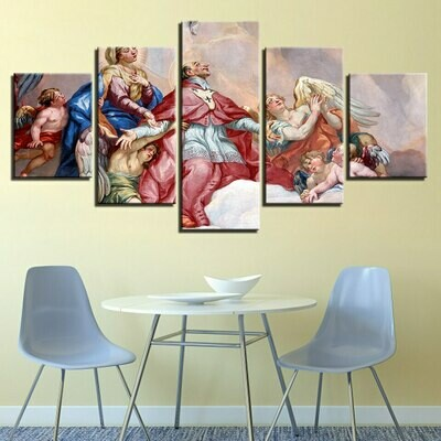 Christian Religion Character - 5 Panel Canvas Print Wall Art Set