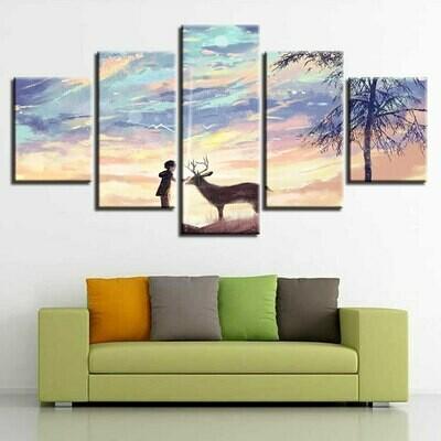 Boy And Deer Painting - 5 Panel Canvas Print Wall Art Set