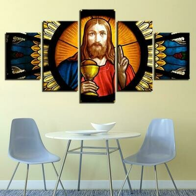 Christian Colored Glass Effect - 5 Panel Canvas Print Wall Art Set