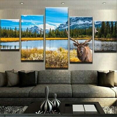 Deer Frames Modular Pictures - 5 Panel Canvas Print Wall Art Set