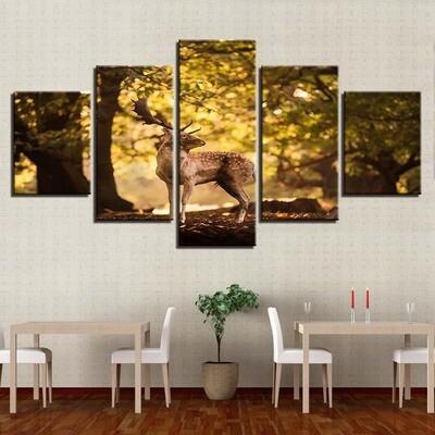 Deer Landscape Living Room Modular - 5 Panel Canvas Print Wall Art Set