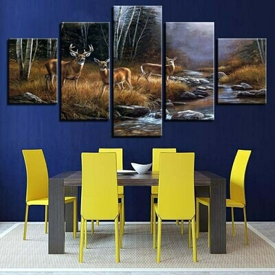 Deer Landscape Picture - 5 Panel Canvas Print Wall Art Set
