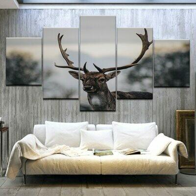 Deer Painting Elk Animal - 5 Panel Canvas Print Wall Art Set