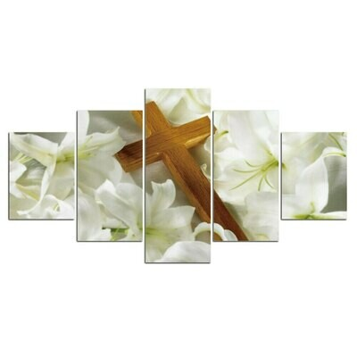 Flower Cross - 5 Panel Canvas Print Wall Art Set