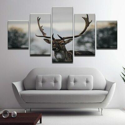 Deers Landscape - 5 Panel Canvas Print Wall Art Set