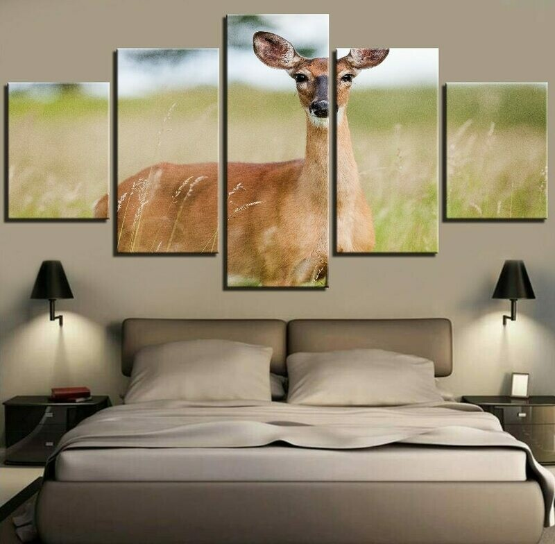 Forest Cool Deer Landscape - 5 Panel Canvas Print Wall Art Set