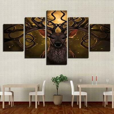 Great Deer Printed - 5 Panel Canvas Print Wall Art Set