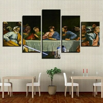 Last Supper Oil - 5 Panel Canvas Print Wall Art Set