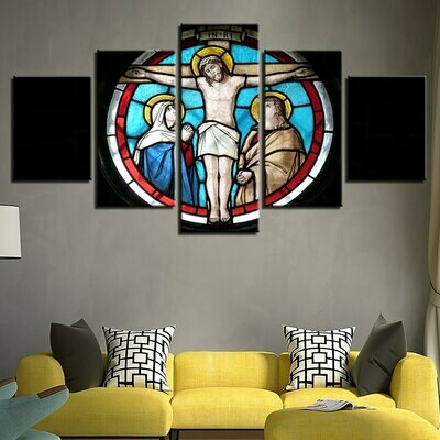 Ation Cross Jesus Christ - 5 Panel Canvas Print Wall Art Set
