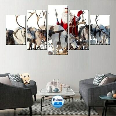 Santa Deer Send Gift - 5 Panel Canvas Print Wall Art Set