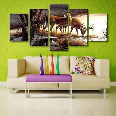 Deer Landscape - 5 Panel Canvas Print Wall Art Set