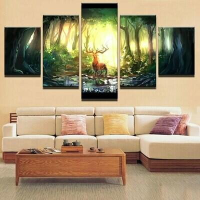 Deer Modular Decoration - 5 Panel Canvas Print Wall Art Set