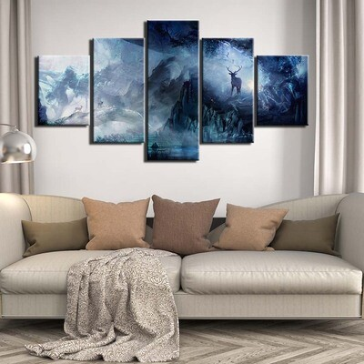 Deer Psychedelic Fawn - 5 Panel Canvas Print Wall Art Set