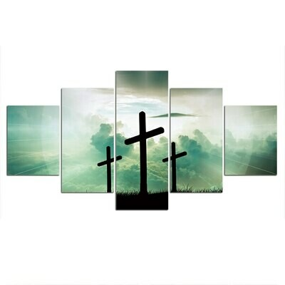 Cross Green Landscape - 5 Panel Canvas Print Wall Art Set