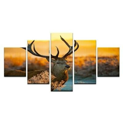 Landscape Reindeer Deer - 5 Panel Canvas Print Wall Art Set