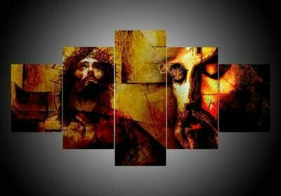 Abstract Jesus - 5 Panel Canvas Print Wall Art Set