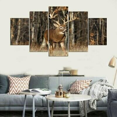 Pictures Deer Wall Art - 5 Panel Canvas Print Wall Art Set