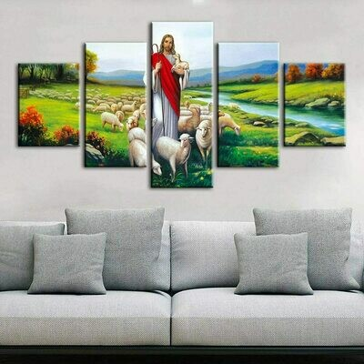 Christ Jesus Good Shepherd - 5 Panel Canvas Print Wall Art Set