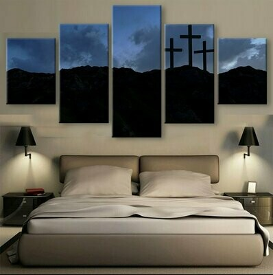 Christian Three Crosses - 5 Panel Canvas Print Wall Art Set