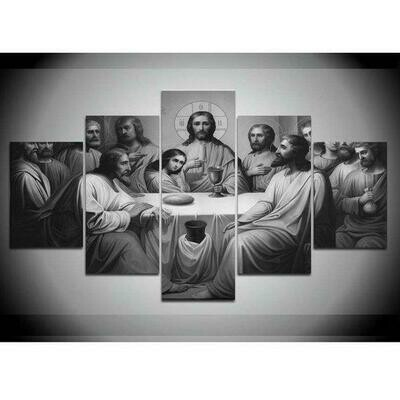 Large Last In Black And White Supper Jesus - 5 Panel Canvas Print Wall Art Set