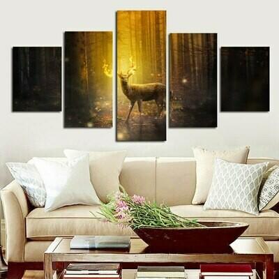 Landscape Deer and Forest - 5 Panel Canvas Print Wall Art Set