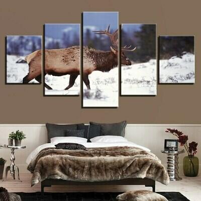 Deer Snow Landscape - 5 Panel Canvas Print Wall Art Set