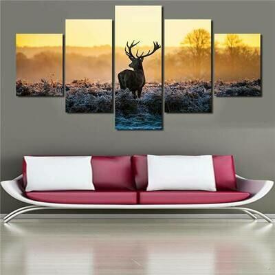 Sell The Abstract Deer - 5 Panel Canvas Print Wall Art Set