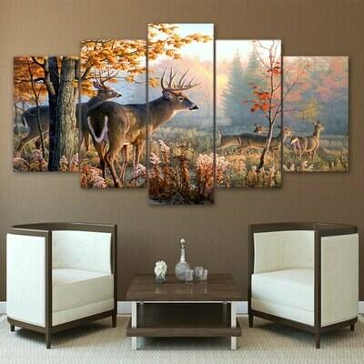 Forest Deer Landscape - 5 Panel Canvas Print Wall Art Set