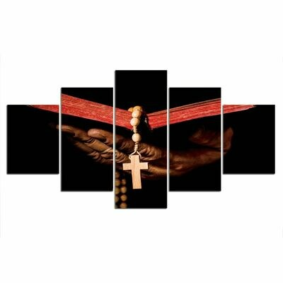 Red Ribbon Cross - 5 Panel Canvas Print Wall Art Set