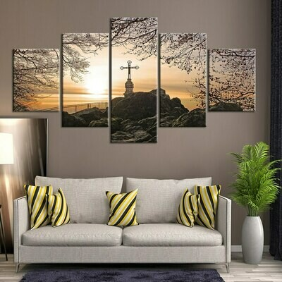 Religion Christianity Posters Cross - 5 Panel Canvas Print Wall Art Set