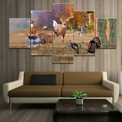 Hunting Deers And Turkeys - 5 Panel Canvas Print Wall Art Set