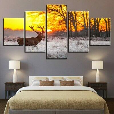 Forest Deer Sunrise Landscape- 5 Panel Canvas Print Wall Art Set