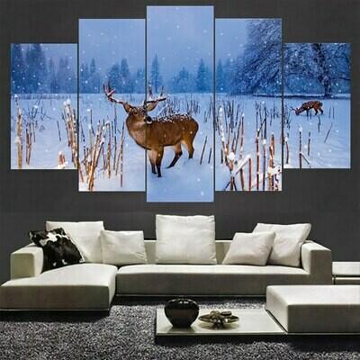 Snow Deer Landscape - 5 Panel Canvas Print Wall Art Set