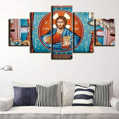 Christ Mosaic Embroidery Cross - 5 Panel Canvas Print Wall Art Set